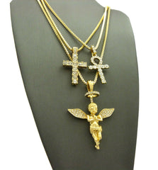 14K Gold Plated 3 Chain Set: Iced Out Cross And Ank With Halo Angel On 24 30 and 26 Inch Box Chain