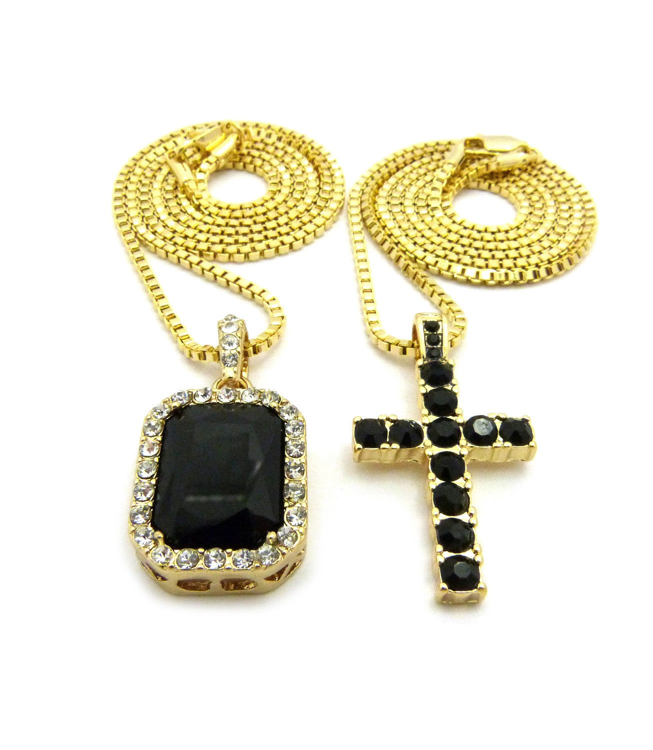 14k Gold Plated 2 Chain Set Iced Out BlackCross And Black Gem