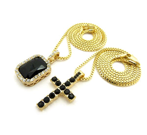 14k Gold Plated 2 Chain Set: Iced Out BlackCross And Black Gem On 24 And 30 Inch Box Chain
