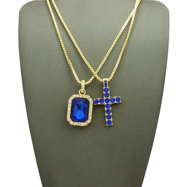 14k Gold Plated 2 Chain Set: Iced Out Blue Cross And Blue Gem On 24 And 30 Inch Box Chain