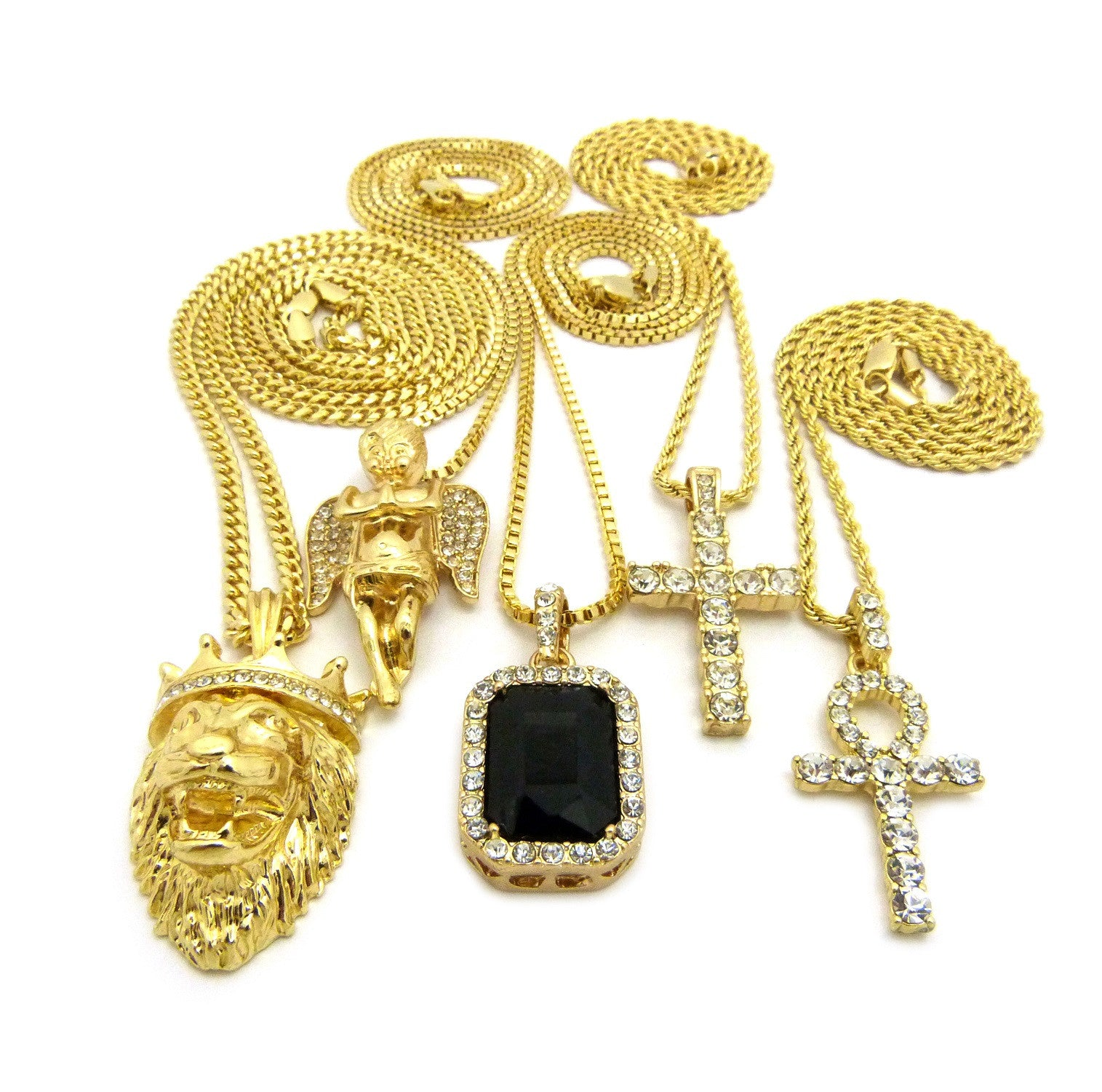 14k Gold Plated 5 Chain Combo Icey Black Gem ICed Out Ankh King Leo Iced Out Cross Praying Angel