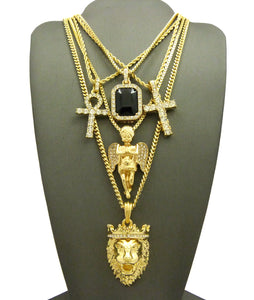 14k Gold Plated 5 Chain Combo Iced Out Black Gem ICed Out Ankh King Leo Iced Out Cross Praying Angel