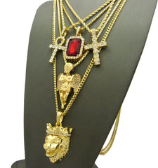 14k Gold Plated 5 Chain Combo Icey  RubyGem ICed Out Ankh King Leo Iced Out Cross Praying Angel