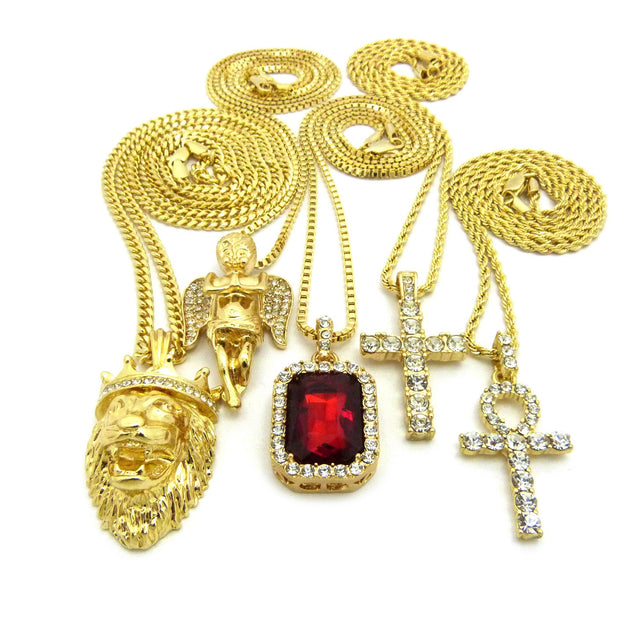 14k Gold Plated 5 Chain Combo Iced Out RubyGem ICed Out Ankh King Leo Iced Out Cross Praying Angel