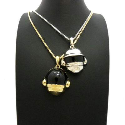 14K Gold Plated 2 Chain Set: Space Heads