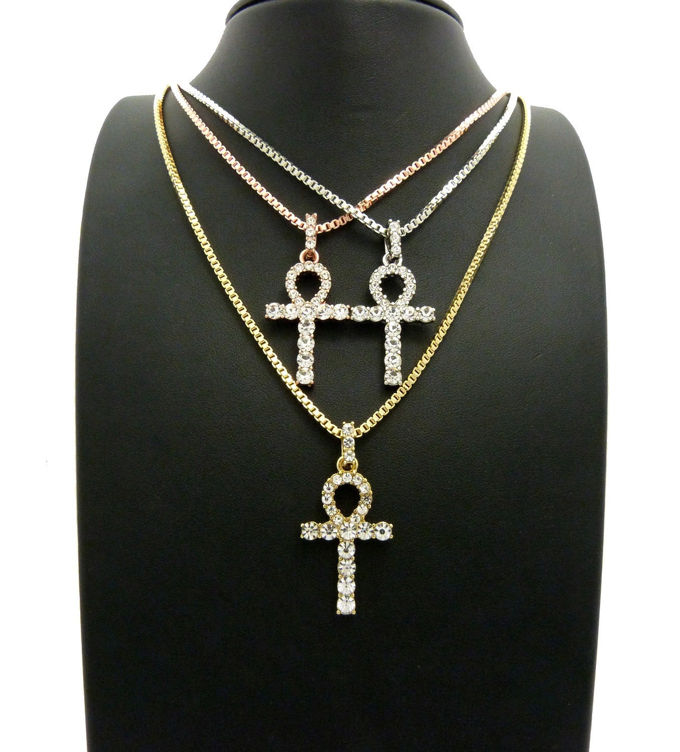 14K Gold Plated 3 Chain Combo Iced Out Ankh Rose Gold White Gold And Gold Plated