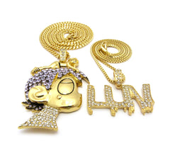 14K Gold Plated Iced Out Lil Uzi Luv And Uzi Head Chain
