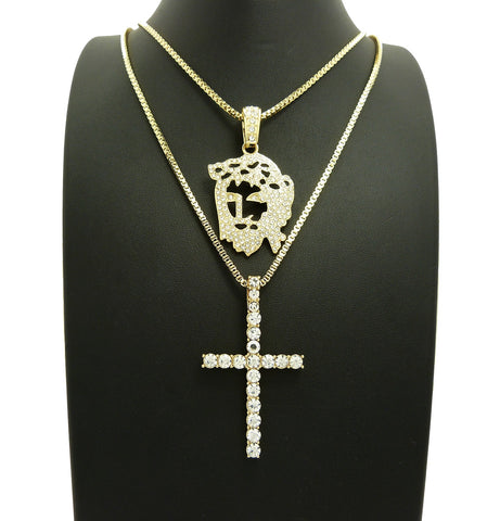 14K Gold Plated Iced Out Flat Jesus And Iced Out Cross