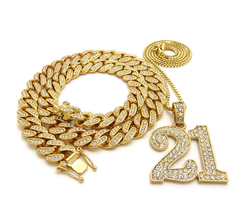 14K Iced Out 18 Inch Miami Cuban Choker 21 Savage Necklace