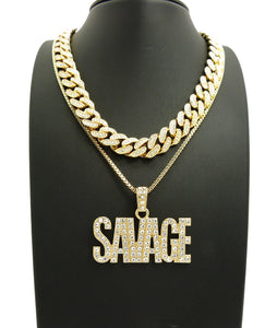 14K Iced Out 18 Inch Miami Cuban Choker Savage Necklace
