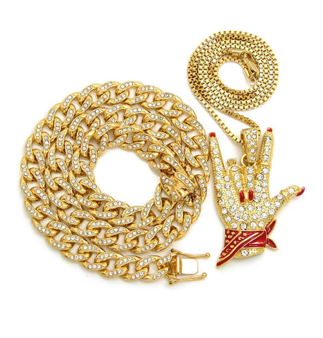 14k Gold Plated Iced Out Cool Fingers Red Rag With Cuban Chain