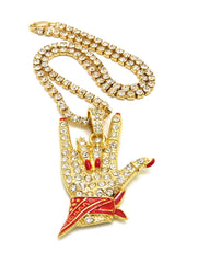 14k Gold Plated Iced Out Cool Finger Iced Out Necklace