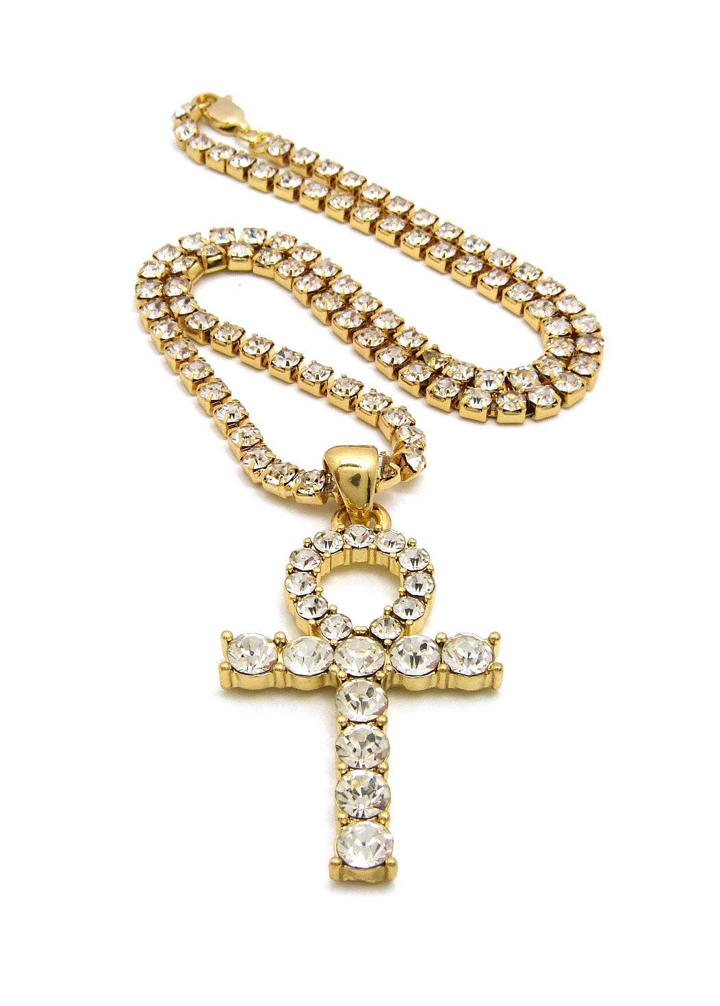 14K Gold Plated Iced Out Akhn Tennis Chain Necklace