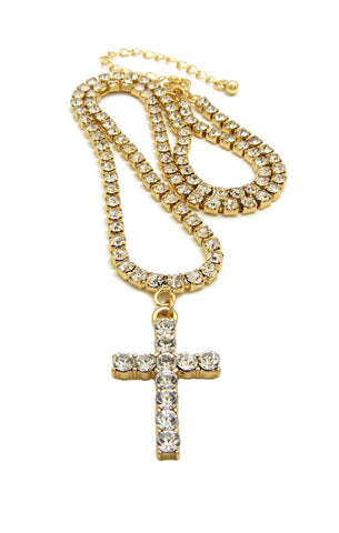 14k Gold Plated Iced Out Cross Tennis Chain