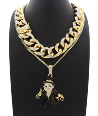 14K Iced Out Monopoly Man Pendant On Miami Cuban