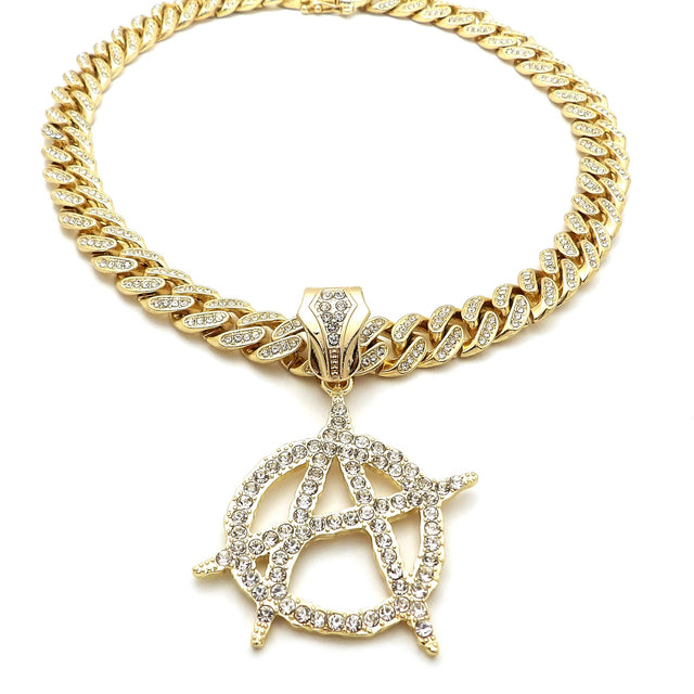 14K Iced Out Circle A On Miami Cuban Necklace