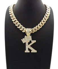 14K Iced Out Gold Letter With Iced Out Cuban
