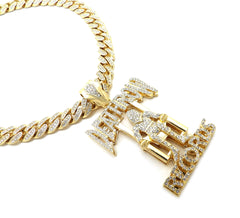 14k Iced Out Death Row Necklace Miami Cuban