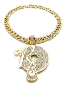 14K Iced Out Rocafella Necklace On Cuban Link