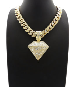 14K Iced Out Diamond Necklace On Iced Out Cuban