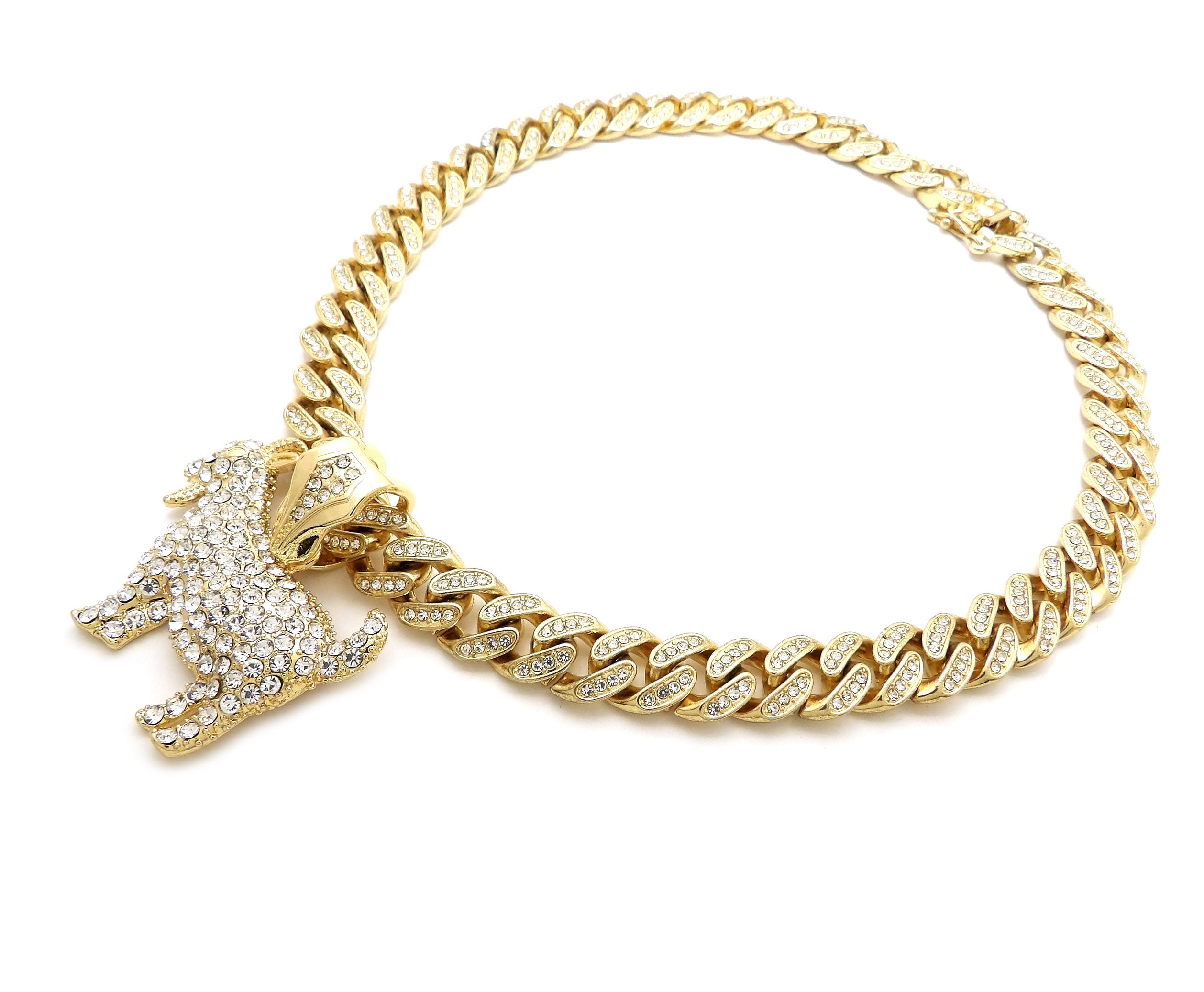 14K Iced Out Goat Necklace On Cuban Link