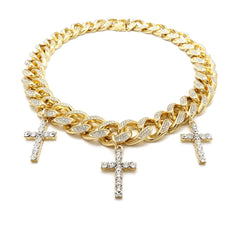 14K Iced Out Multi Cross On Cuban Link