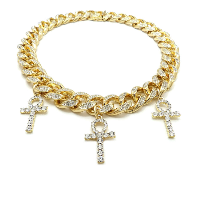 14K Iced Out Multi Ankh Iced Out Cuban