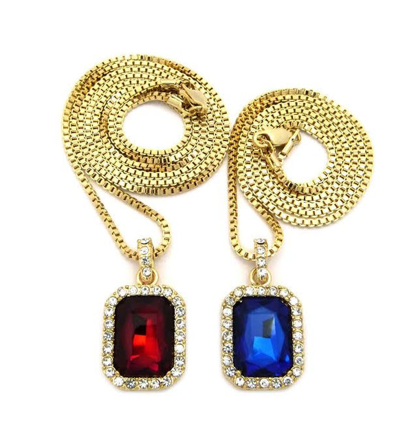 Red And Blue Iced Out Gem And Ruby 24 And 30 Inch