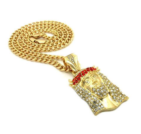 Red Gem Iced Out Jesus on Cuban Link