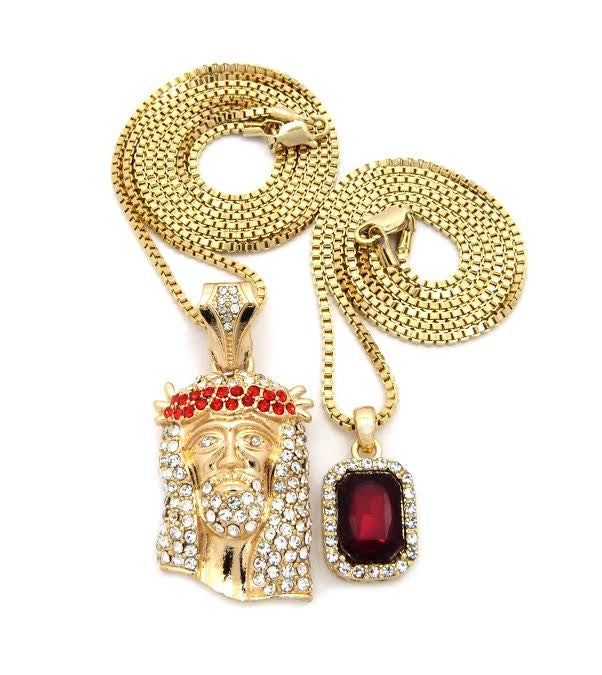 2 Chain Set: Red Gem Jesus And Red Ruby 24 and 30 Inch