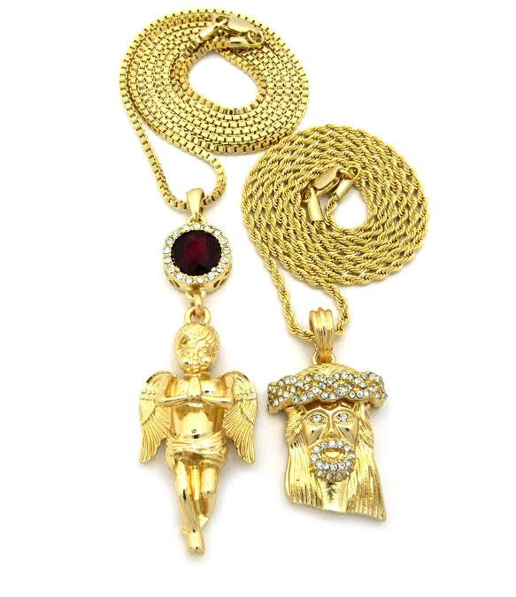 2 Chain Set: Red Ruby Praying Angel And Iced Out Jesus Piece