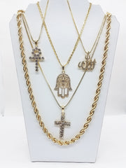 14K Gold Plated 5 Chain Combo All One People Hammas Hand Allah Iced Out Cross And Ankh 30 Inch Rope chain