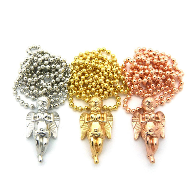 3 Chain Set: Rose Gold Yellow Gold And White Gold Nano Praying Angels On Beaded Chain