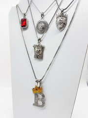 14K Gold Plated 5 Chain Combo Silver Set Ruby King B Medusa King Leo Jesus Piece
