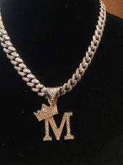14K Icey Gold Letter With Iced Out Cuban