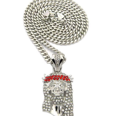 Silver Plated Red Gem On Silver Plated 30 Inch Cuban Link Chain