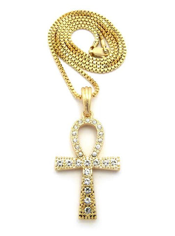 Iced Out Ankh Cross On 24 Inch Box Chain
