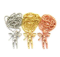 3 Chain Set Winged Angel Rose Gold Yellow Gold And White Gold