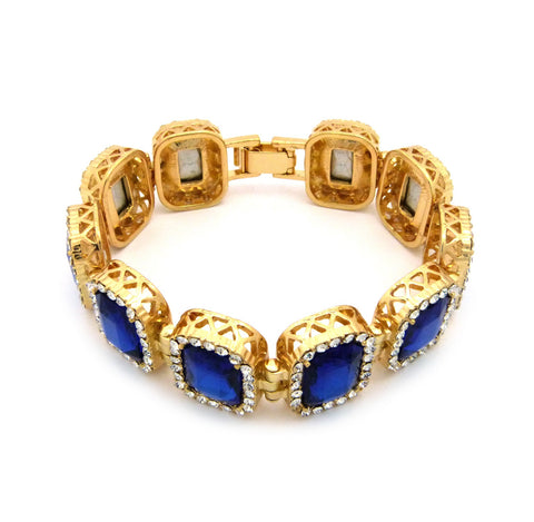 Blue Gem Stone Iced out Bracelet