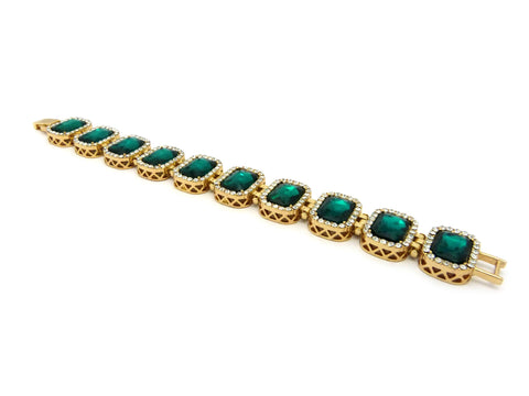 Emerald Gem Stone Iced Out Bracelet