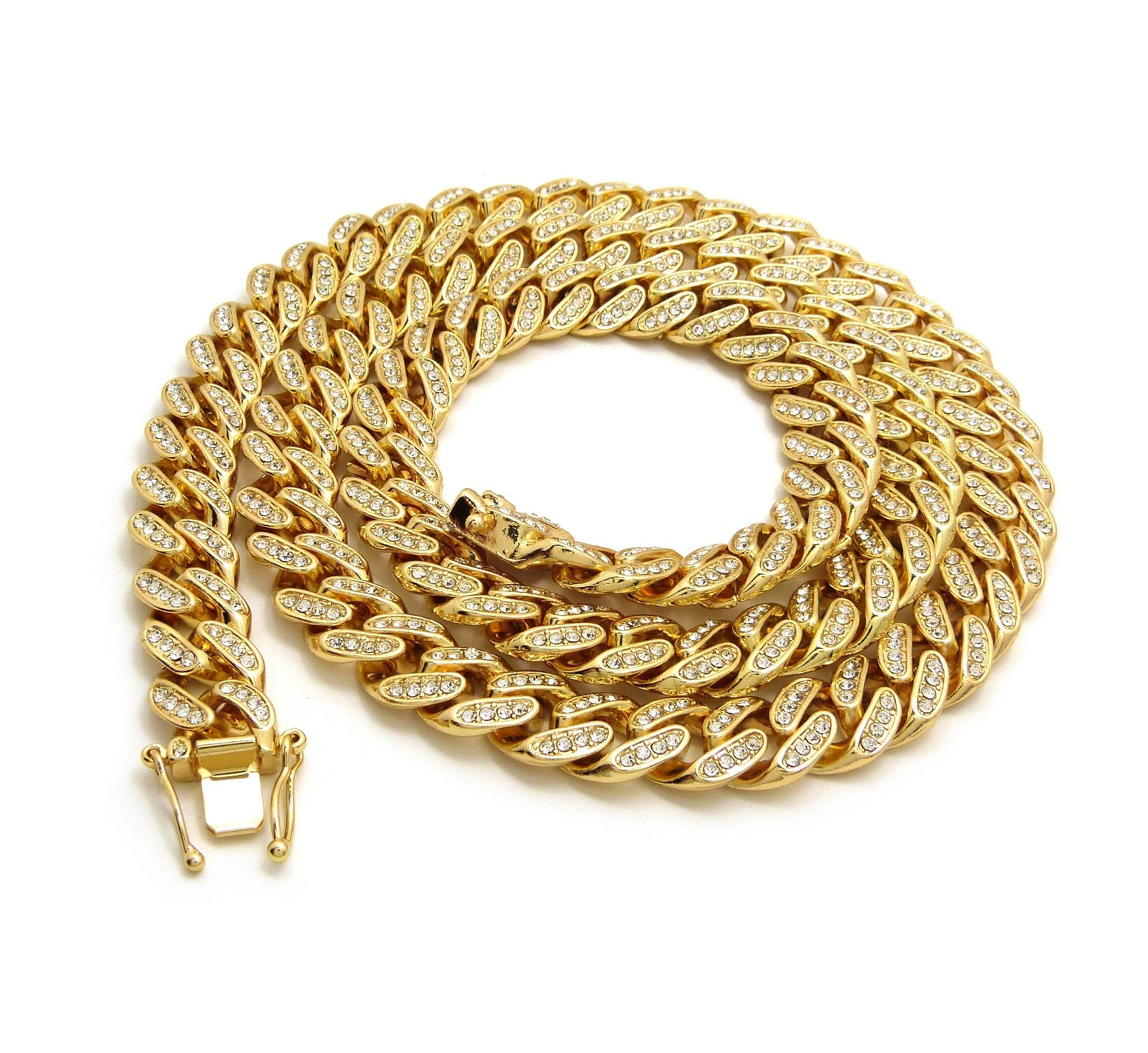 14K Gold Plated 18 Inch Miami Iced Out Cuban