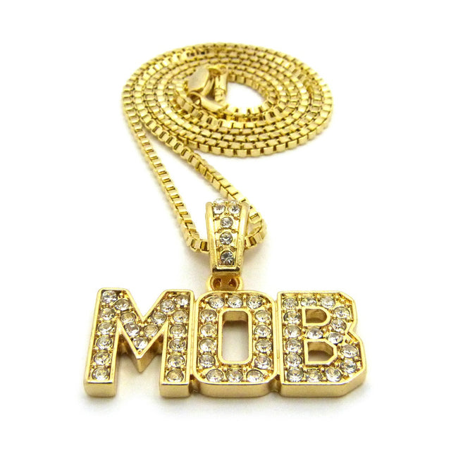 "14kGold Plated Iced Out ""M.O.B."" Chain"