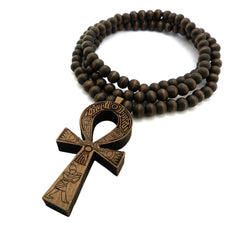 Wood Ankh Cross with Wood Beaded Necklace
