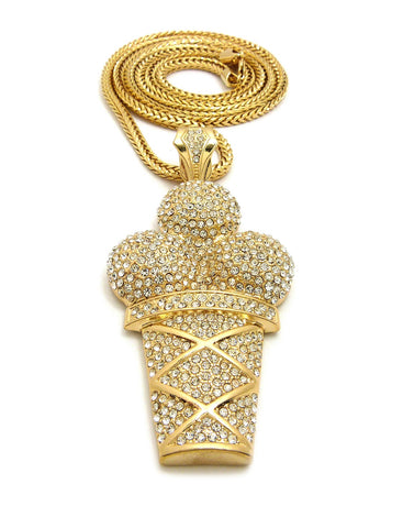 14k Gold Plated Iced Out Ice Cream