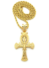 Ankh Cross and Horus Bird Necklace on Rope Chain