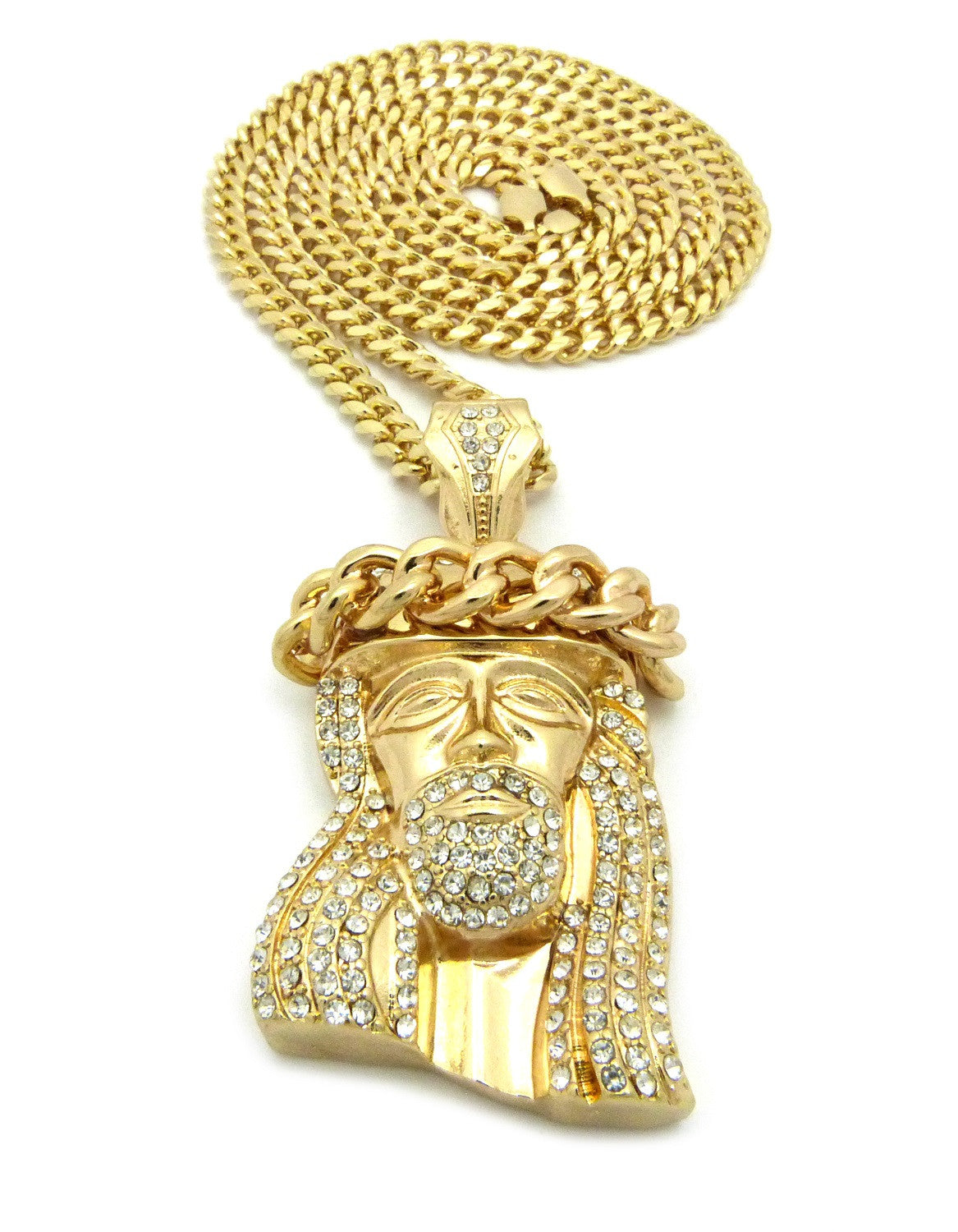 Gold Plated Iced Out Jesus Piece