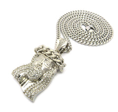 Silver Plated Iced Out Jesus Piece