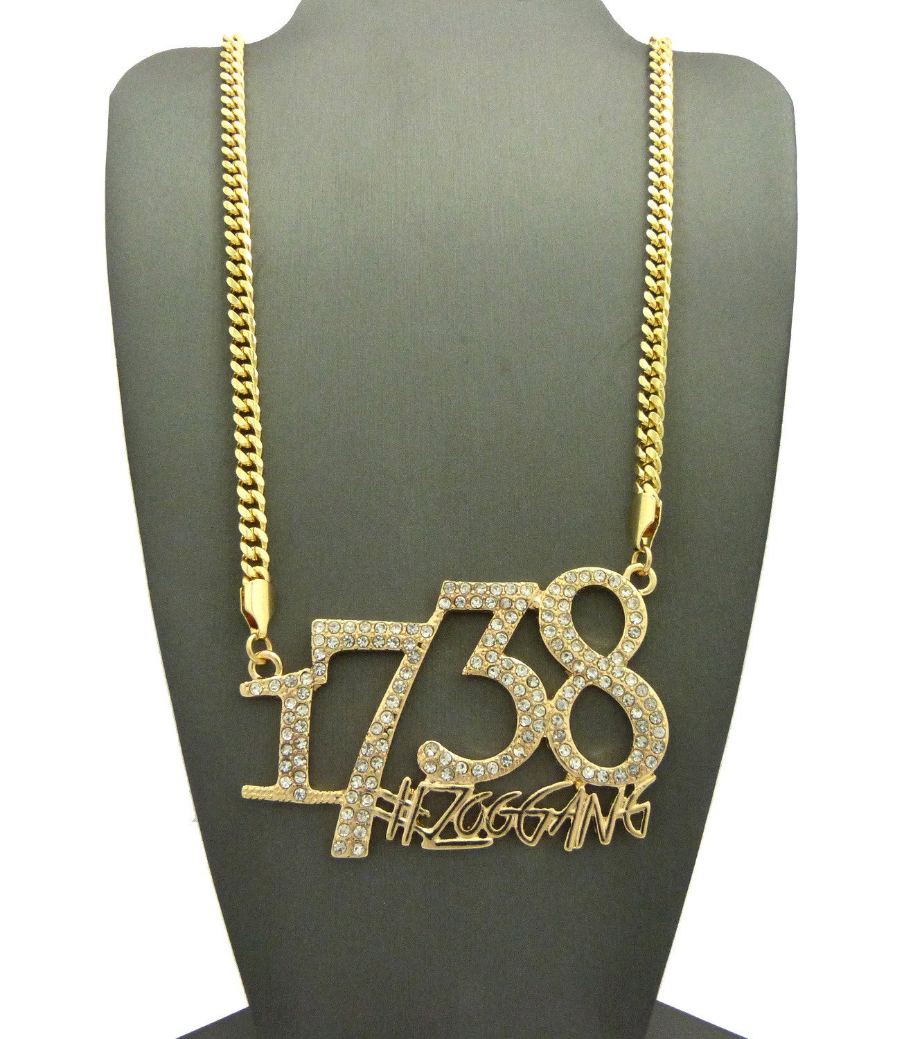 14k Gold Plated 1738 Zoo Gang On Cuban Link 36 Inches