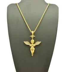 14k Gold Plated Iced Out Praying Halo Angel