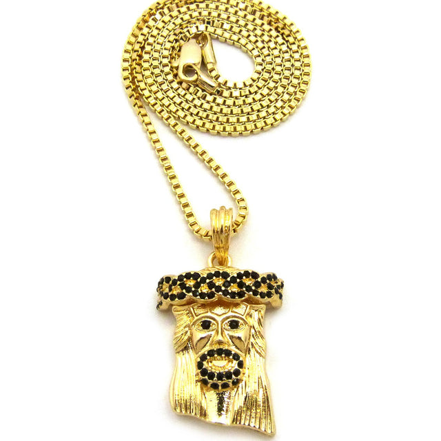 14k Gold Plated Blue Ice Jesus Piece